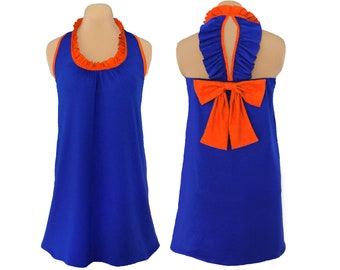 Blue + Orange Back Bow Dress