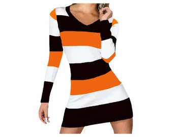 Orange and Black Stripe Game Day Dress