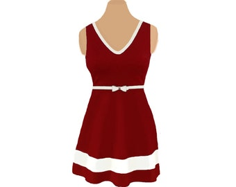 Deep Red + White Skater Dress
