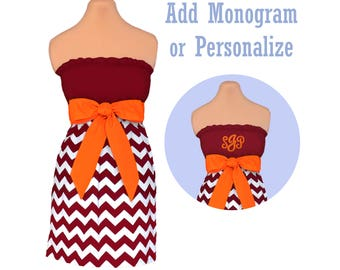 Orange + Maroon Chevron Game Day Dress