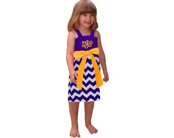 Purple + Bright Gold Chevron Game Day Dress - Girls