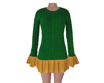 Green + Gold Tunic Sweater