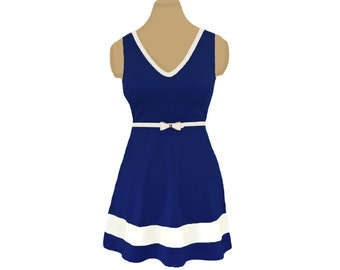 Navy + White Skater Dress