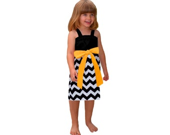 Black + Yellow Chevron Game Day  Dress - Girls