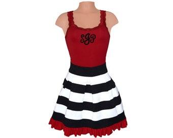 Deep Red + Black Stripe Scuba Skirt and Monogram Tank