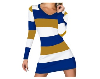 Pitt, Notre Dame, Georgia Southern, SJSU, Rams, Brewers, Padres Stripe Game Day Dress