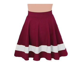Deep Red + White Cheerleader Style Skirt