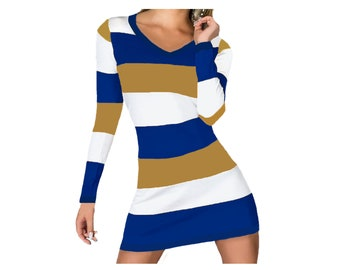 Blue or Navy and Gold Stripe Game Day Dress