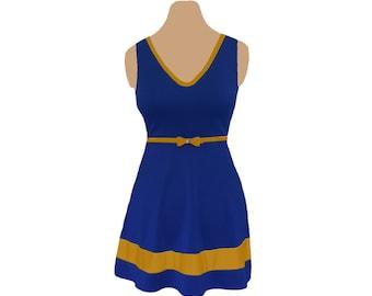 Blue or Navy + Gold Skater Dress