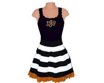 Black + Gold Stripe Scuba Skirt and Monogram Tank