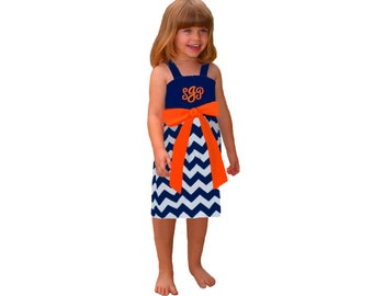 Orange + Navy Chevron Monogram Girls Dress