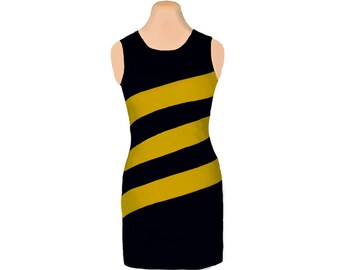 Black + Gold Diagonal Stripe Dress