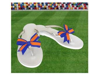 Orange + Blue Bow Jelly Sandals