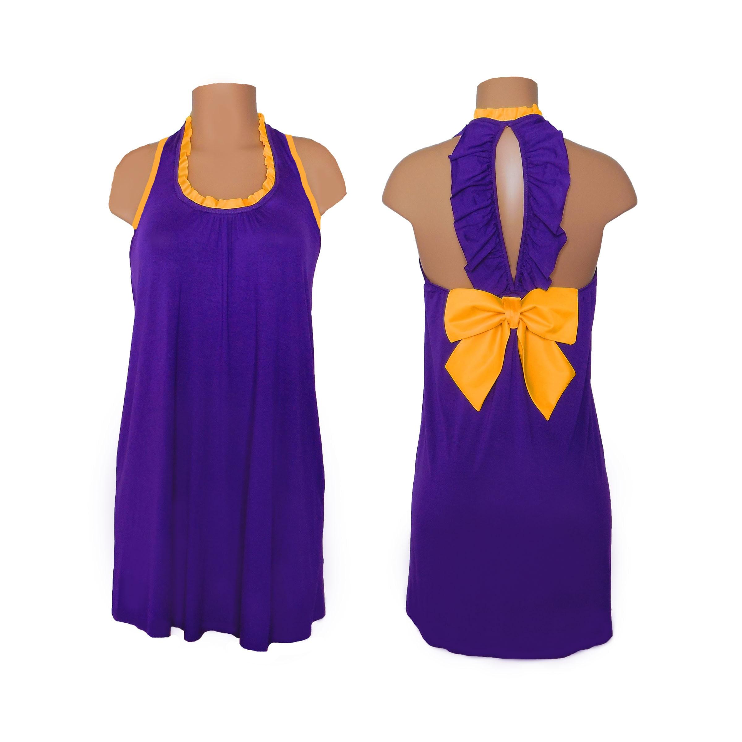 4e683d9dac98b Purple Bright Gold Back Bow Dress