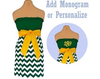 Green + Bright Gold Chevron Dress
