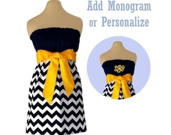 Black + Yellow Chevron Dress