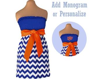 Orange + Blue Chevron Dress
