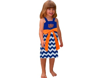 Orange + Blue Chevron Monogram Girls Dress