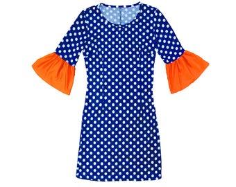 Blue or Navy + White Polka Dot Dress with Orange Trumpet Sleeves