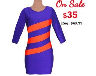 Orange + Purple Diagonal Stripe Dress 3/4 Length Sleeves
