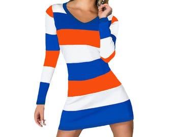 Orange + Blue Stripe Spirit Dress