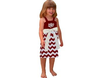 Deep Red + White Chevron Dress- Girls