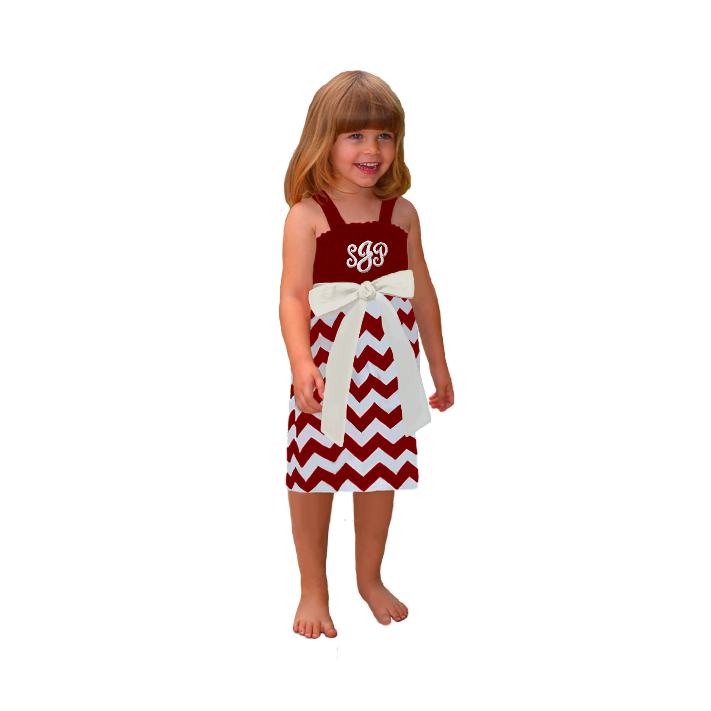 Deep Red White Chevron Game Day Dress Girls  654ed61ef