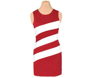 Red and White Diagonal Stripe Dress