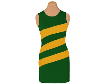 Green + Bright Gold Diagonal Stripe Dress