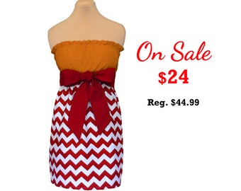 Deep Red + Gold Chevron Game Day Dress