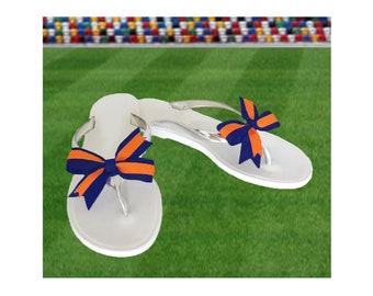Orange + Navy Bow Jelly Sandals