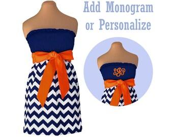 Orange + Navy Chevron Dress
