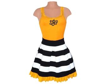 Black + Yellow Stripe Scuba Skirt and Monogram Tank