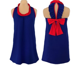 Navy + Red Back Bow Dress