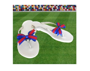 Red + Blue Bow Jelly Sandals