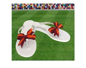 Orange + Maroon Bow Jelly Sandals