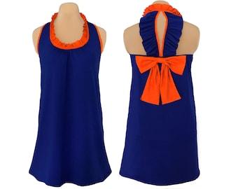Navy + Orange Back Bow Dress
