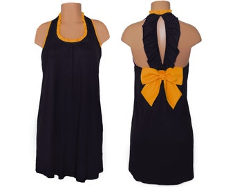 Black + Bright Gold Back Bow Dress