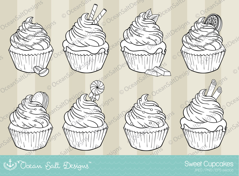 Cupcakes dulce Digital sellos para colorear página imágenes | Etsy