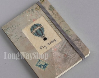 Fly Away Balloon stitched travel-style notebook