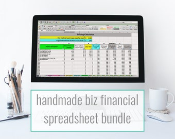 Etsy Financial Spreadsheet bundle - monthly bookkeeping template, pricing & inventory spreadsheet for makers and Etsy sellers