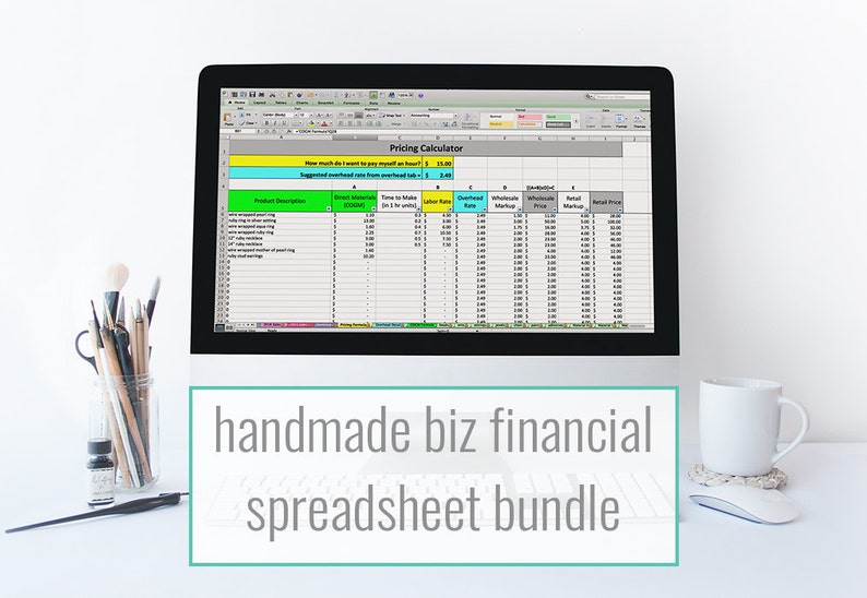 Etsy Financial Spreadsheet bundle  monthly bookkeeping image 0