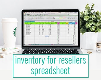 Inventory for Resellers spreadsheet - inventory tracking, pricing, and cost of goods sold for retailers, supply shops, and resellers