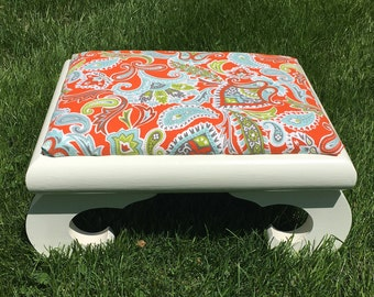 Asian Inspired Ottoman Footstool White with Orange Paisley Upholstery Fabric