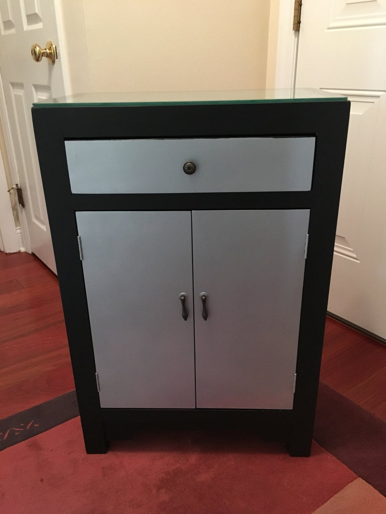 Phenomenal Hollywood Glam Silver Black 2 Door Cabinet With Drawer Home Interior And Landscaping Palasignezvosmurscom