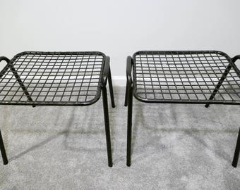 Pair of Black Wire Mesh Stackable Tables