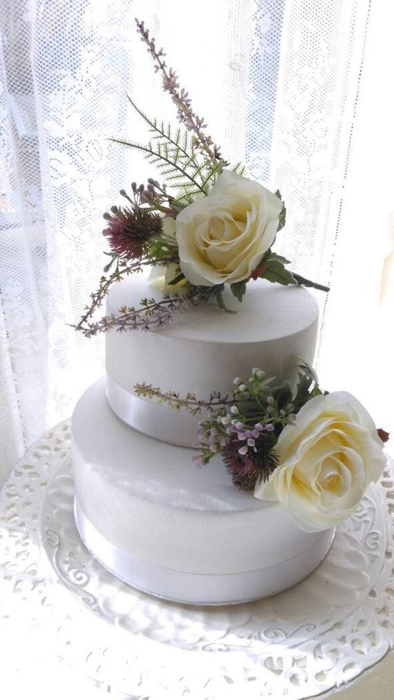 Silk Wedding Cake Flowers With Scottish Heather Thistles Etsy