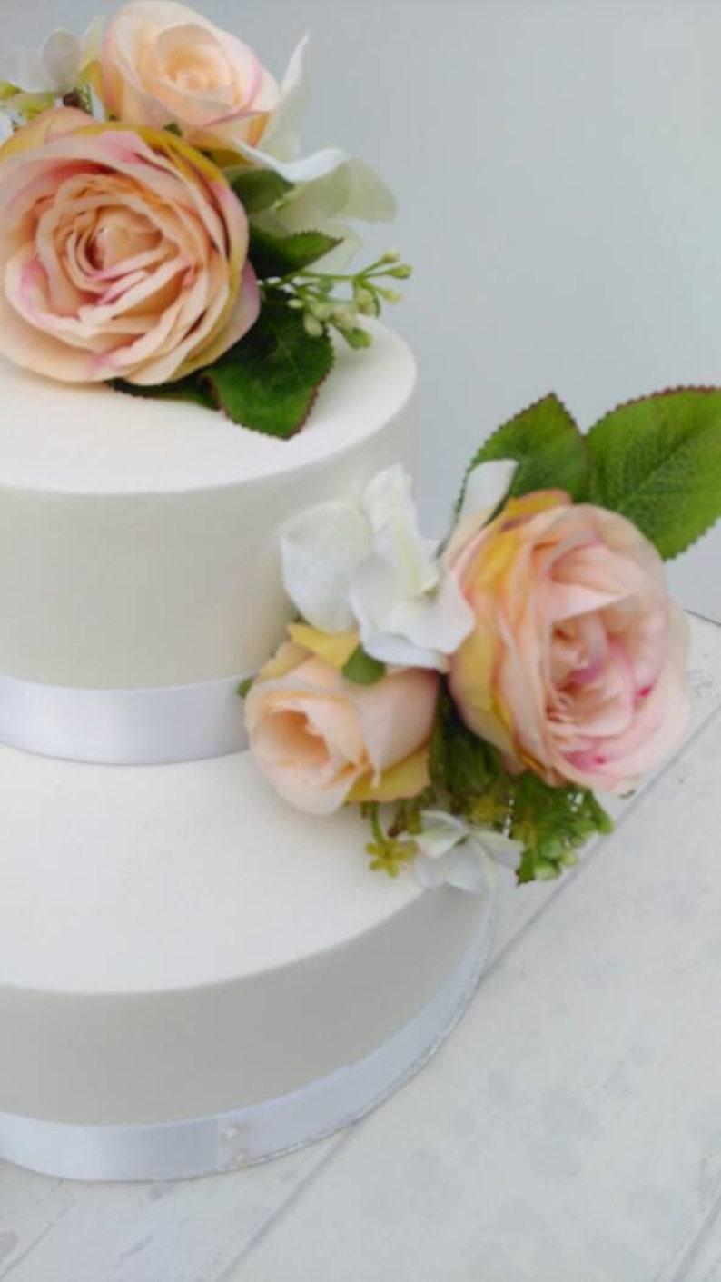 Blush Pink Artificial Silk Wedding Cake Flowers Topper