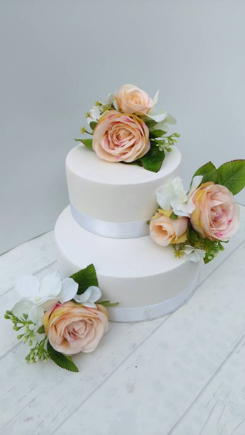 Blush Pink Artificial Silk Wedding Cake Flowers Topper