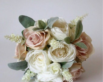 Artificial Silk Bride Bouquet of Pink blush and Ivory Roses, white Lavender. Beautiful keepsake wedding flowers